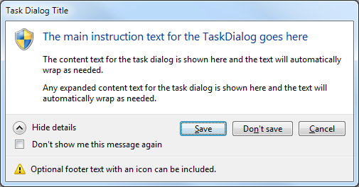 Emulated Task Dialog in Windows 7