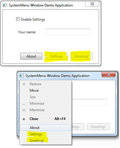 An MVVM friendly approach to adding system menu entries in a