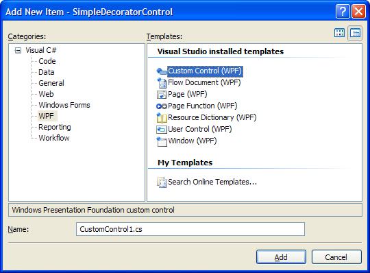 Adding custom WPF control in Visual Studio