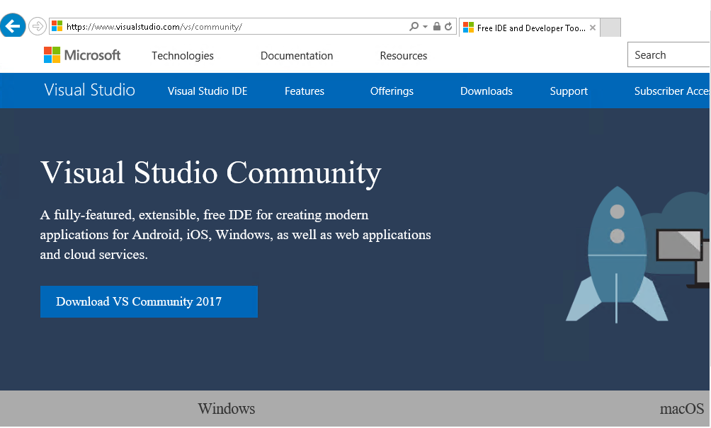 get visual studio home page