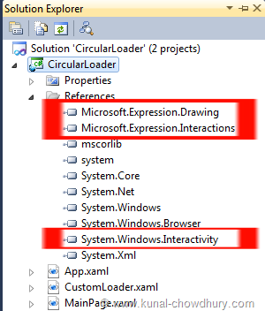 Add Assembly References for Microsoft.Expression.Drawing, Microsoft.Expression.Interactions and System.Windows.Interactivity