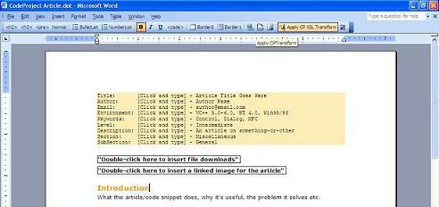 word 2003 codeproject article template codeproject