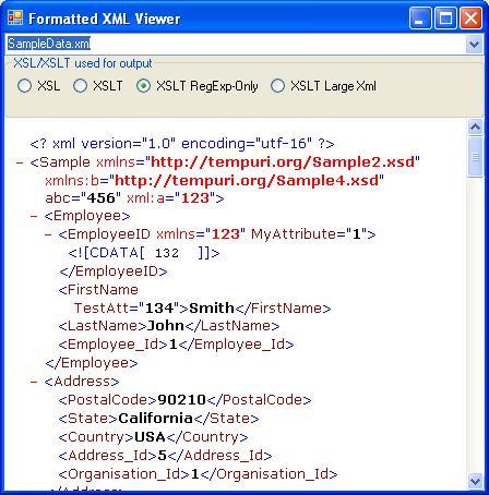 XML String Browser (just like Internet Explorer) using the