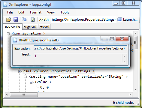 XmlExplorer Window with the XPath Expression Results Window
