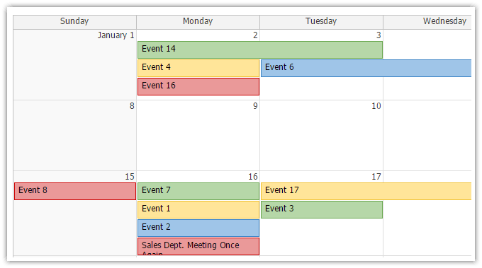 AJAX Monthly Event Calendar for ASP.NET MVC