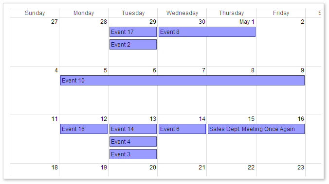 AJAX Monthly Event Calendar for ASP.NET MVC - Google-Like CSS Theme