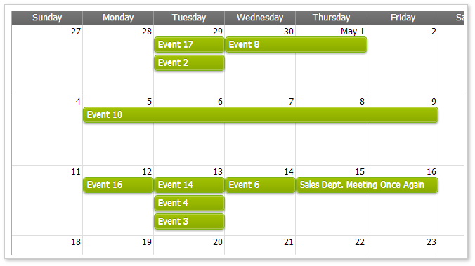 AJAX Monthly Event Calendar for ASP.NET MVC - Green CSS Theme