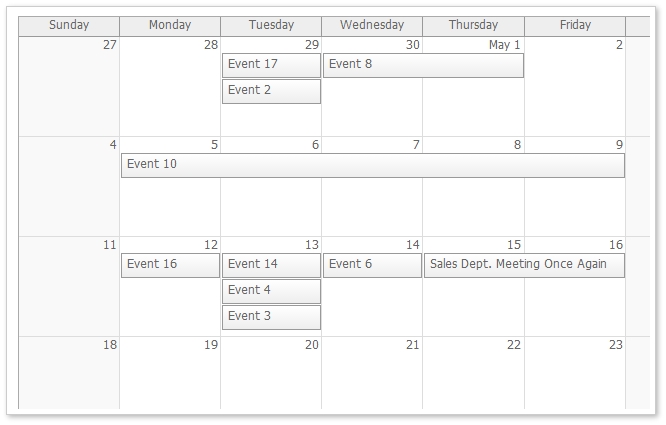 AJAX Monthly Event Calendar for ASP.NET MVC and jQuery
