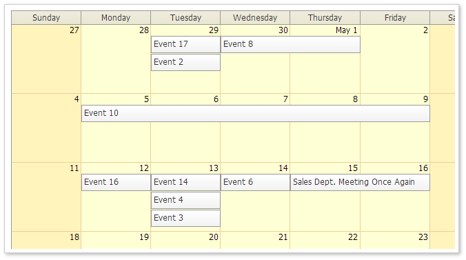 AJAX Monthly Event Calendar for ASP.NET MVC - Traditional CSS Theme