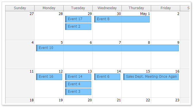AJAX Monthly Event Calendar for ASP.NET MVC - Transparent CSS Theme