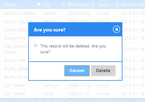 Delete confirmation dialog