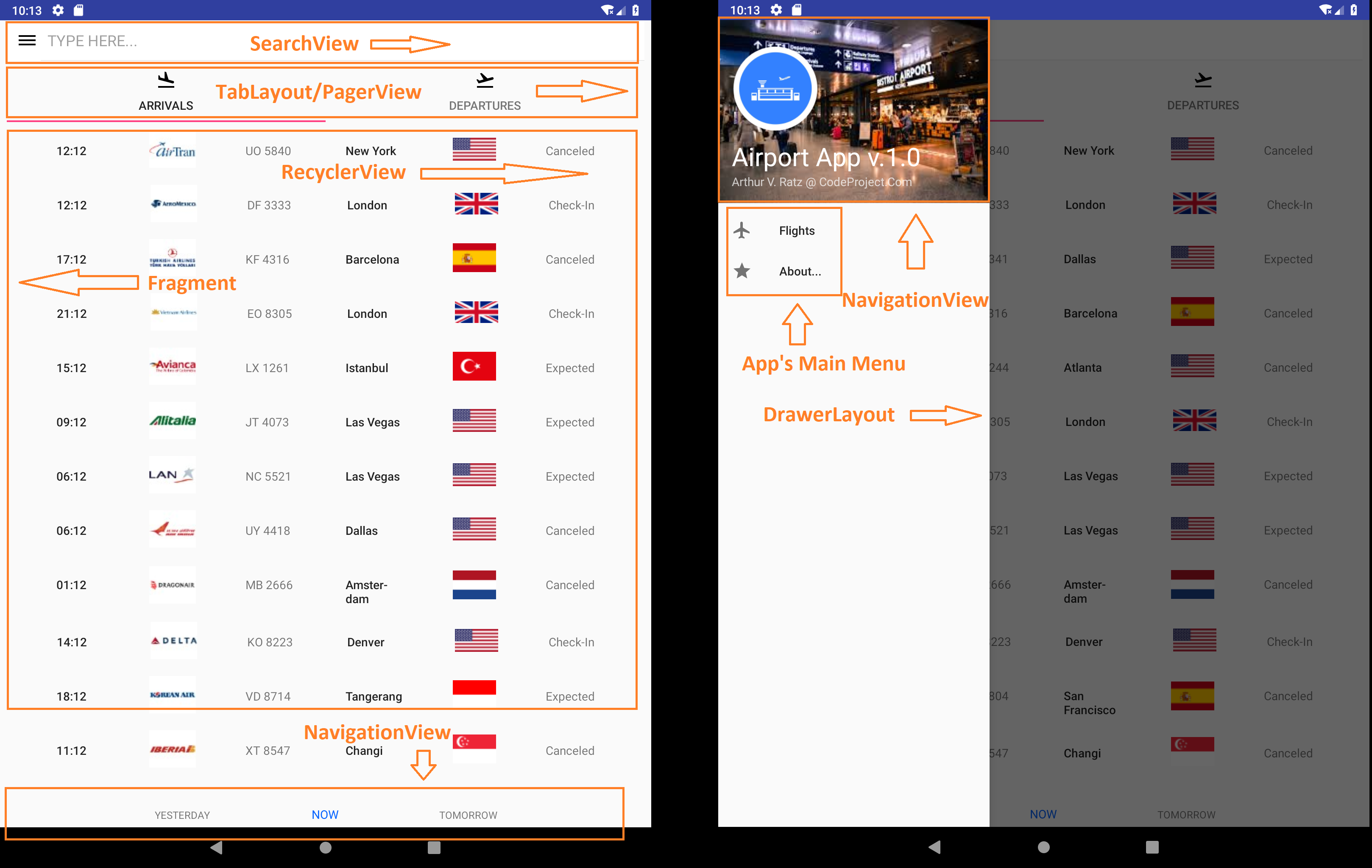 Android Programming By An Example: Creating An Airport Schedule