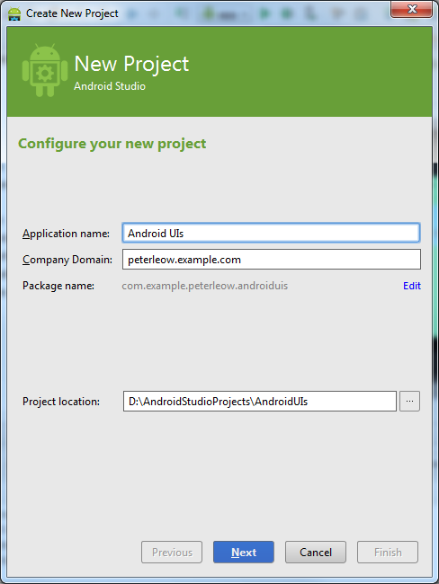Android ui layouts and controls codeproject figure 5 configure new project ccuart Image collections