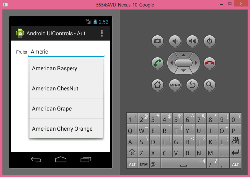 Android UI Controls - AutoCompleteView