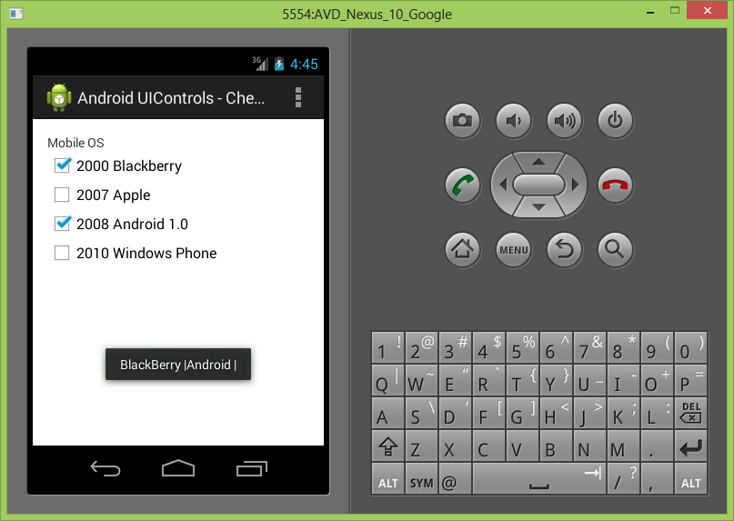 Android UIControls - Checkbox Control