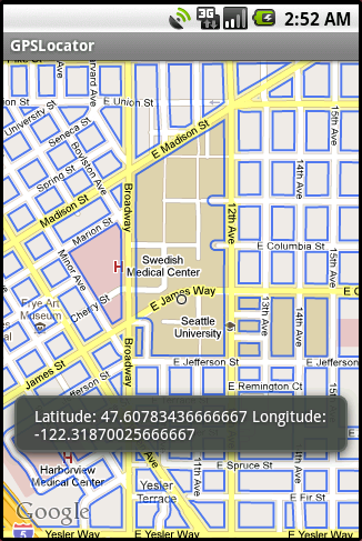 Showing GPS Location information