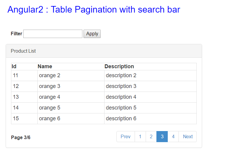 Table pagination with Search bar in Angular2 - CodeProject