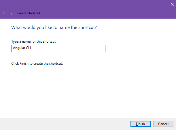 Figure 2 shows the second page of the shortcut creation dialog box, where you assign the shortcut a name.