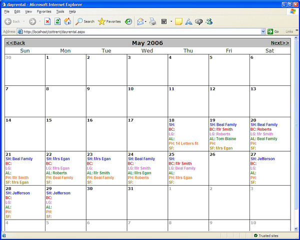 Calendar Monthly Rent : Web based day rental calendar codeproject