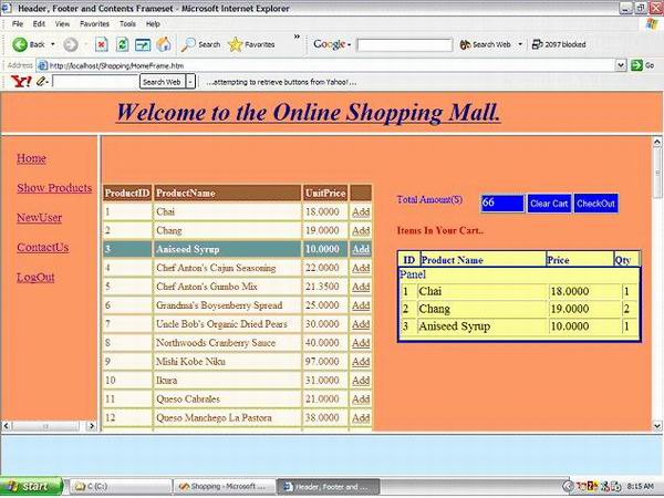 Shopping Cart Using C Net Web Forms And Sql Server
