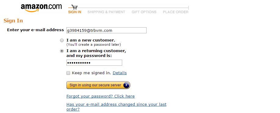 Login Existing Client Amazon