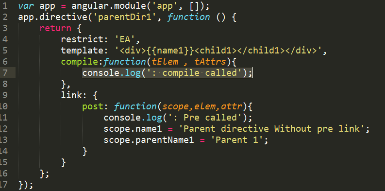 Compile pre post options in angularjs codeproject if compile is defined as defined below then it will override the link function as shown in the below example maxwellsz