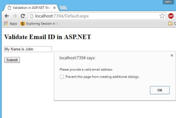 Validate Email ID in ASP NET TextBox using JavaScript