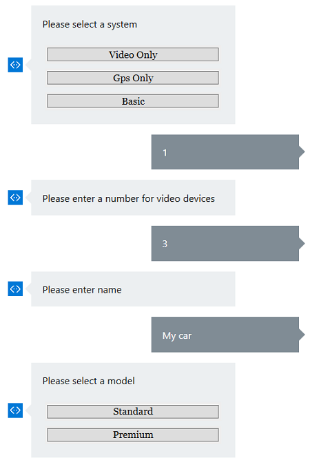 Conversation covering a form using the Microsoft Bot Builder