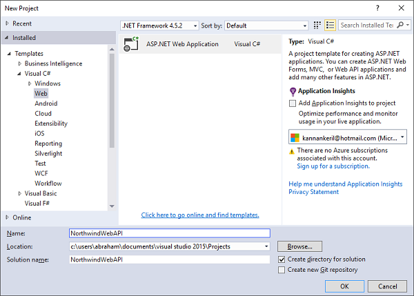 Visual Studio - New Project dialog