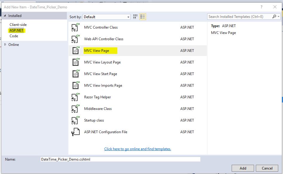 DateTime_Picker_MVC_Core_Add_View