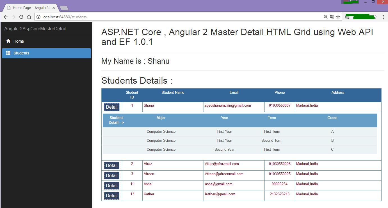 ASP NET Core, Angular 2 Master Detail HTML Grid using Web API and EF