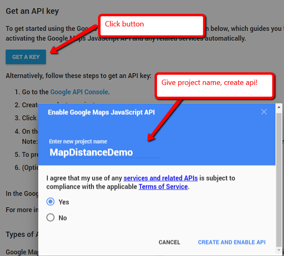 Calculating distance using Google Maps in asp net MVC