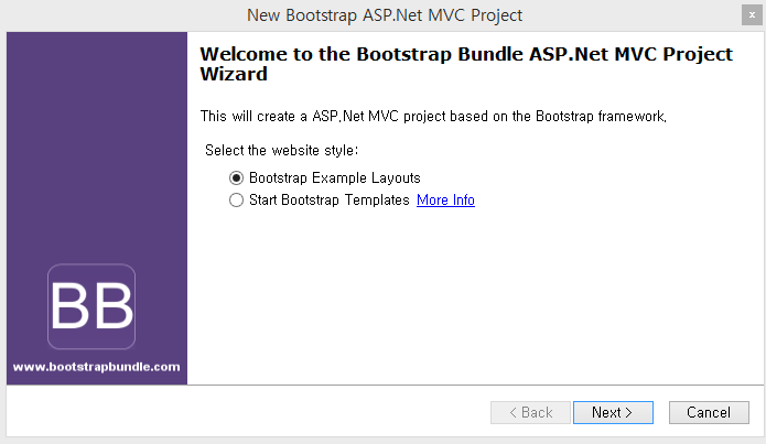 Customizing asp mvc bootstrap templates codeproject select the bootstrap example layouts and click next button maxwellsz