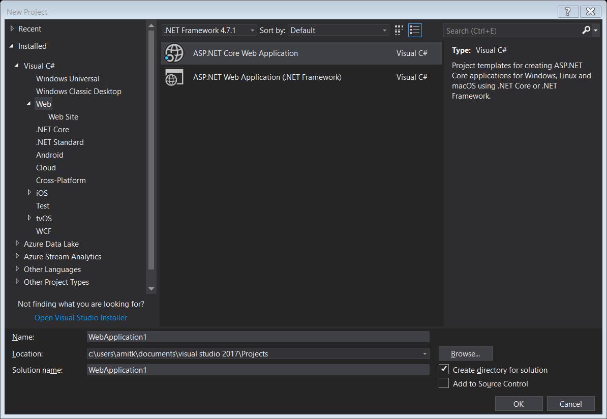 Angular 5 and .NET Core 2 with Visual Studio 2017