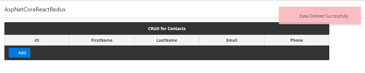 CRUD Operation using ASP NET CORE 2 2 and React Redux with