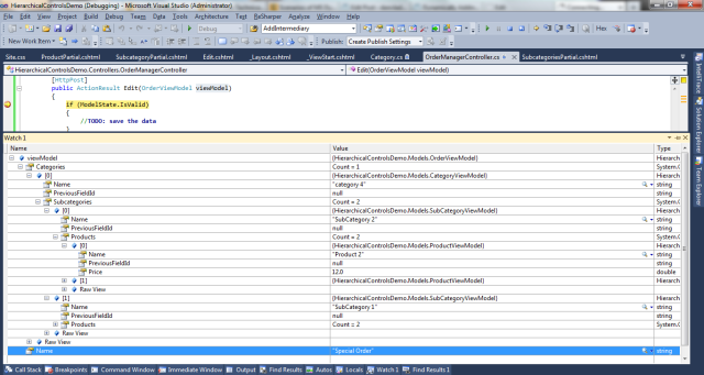 Dynamically adding controls on a hierarchical structure on