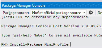 MiniProfiler Package Manager