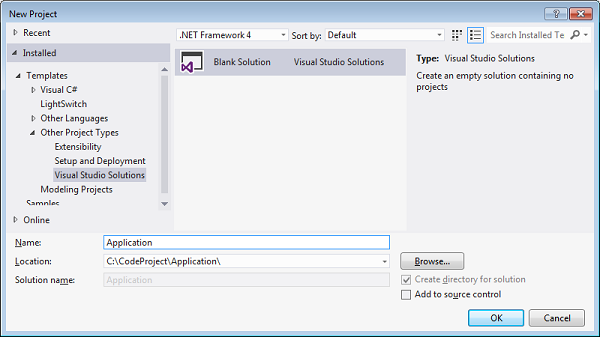 Step 2 Right Click On Solution Folder And Add New Project Of Type ASPNET MVC 4 As An Internet Application Template With View Engine Razor