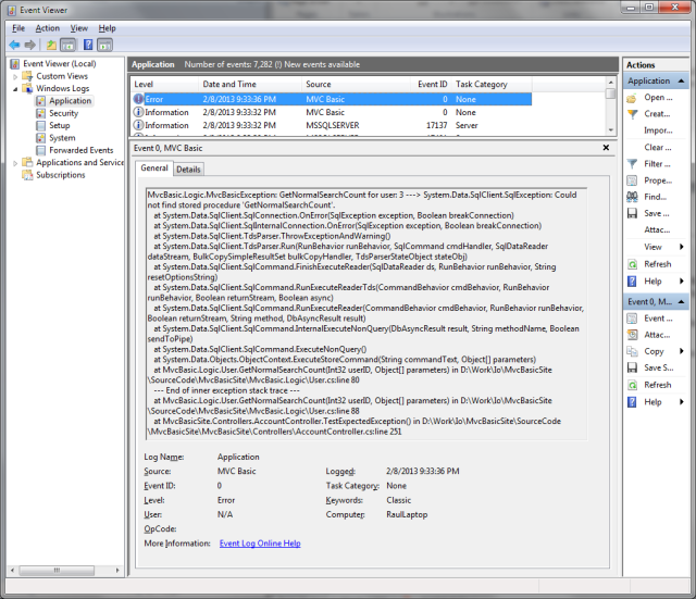 MVC Basic Site: Step 2 - Exceptions Management - CodeProject