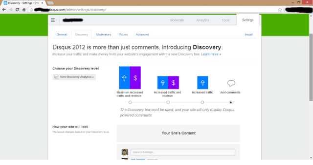 Disqus - turning off discovery