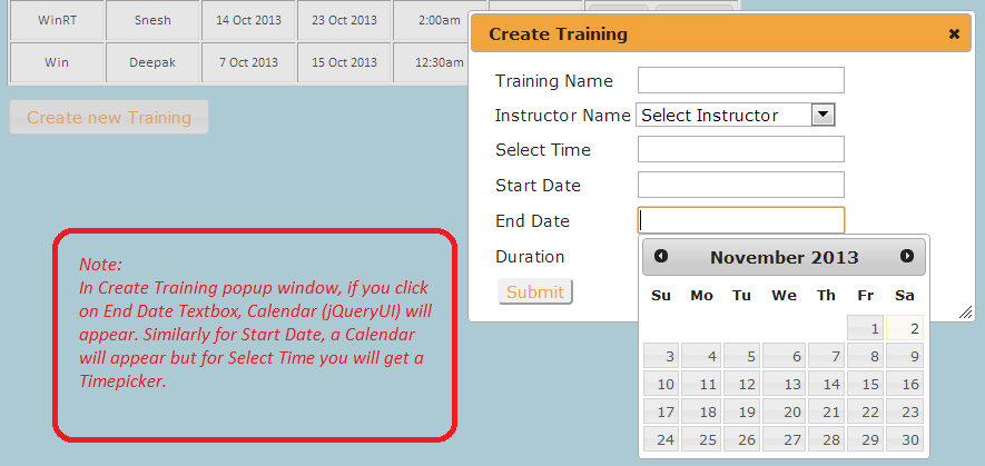 Create Training Popup