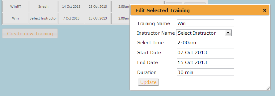Edit Training Popup
