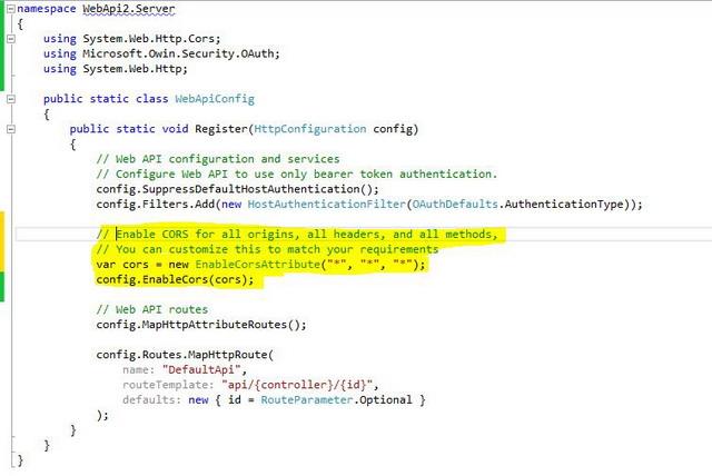 Using Web API 2 (Individual User Account + CORS Enabled