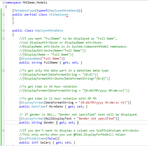 ASP NET MVC – What are the Uses of Display, DisplayName