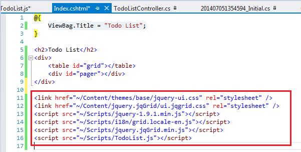 ASP NET MVC-4,Entity Framework and JQGrid Demo with simple Todo List