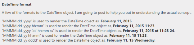 DateTime object different formats.
