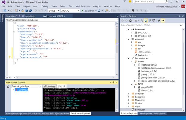 Angular JS Application with MVC 6, Web API 2, ASPNET 5 and