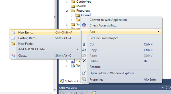Adding a new Item: Right click the folder, select 'Add' then 'New Item'