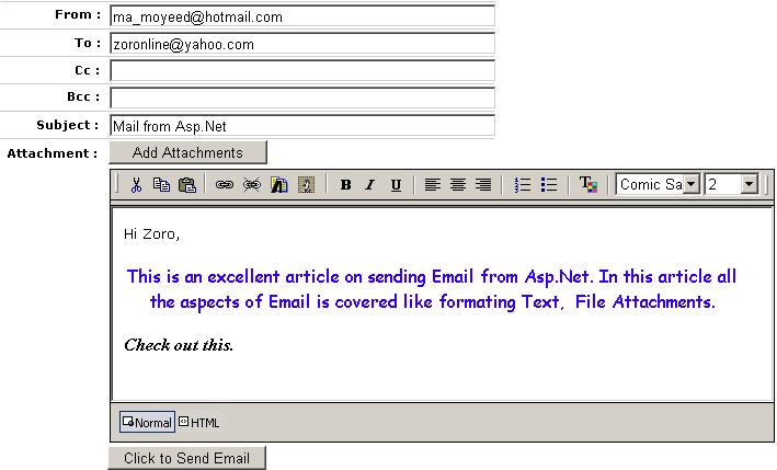 Sending Email from Asp.Net Using Formatted Text Editor and ...