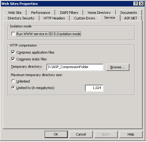 Enable Gzip compression in IIS 6 0 for ASP NET 2 0 websites